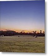Hay Bales In A Field At Sunset Metal Print