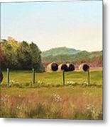 Hay Bales In The Cove Metal Print by Joan Swanson