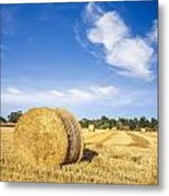 Hay Bales Under Deep Blue Summer Sky Metal Print