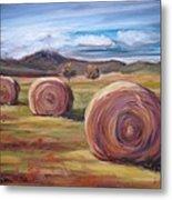Hay Harvest Metal Print