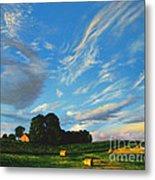 Hay Rolls On The Farm Series One In Westmoreland County Pennsylvania Metal Print
