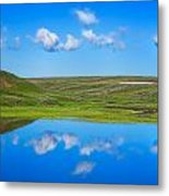 Hayden Valley Cloud Reflection Yellowstone National Park Metal Print