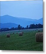 Hayfield At Dusk Metal Print