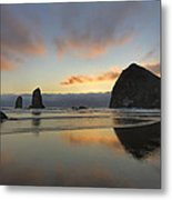 Haystack And Sunset Along Oregon Coast Metal Print