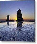 Haystack Needles Rocks At Cannon Beach Metal Print