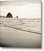 Haystack Rock And Cannon Beach Metal Print