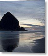 Haystack Rock On Cannon Beach Oregon Evening Metal Print