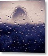 Haystack Rock Rain Metal Print