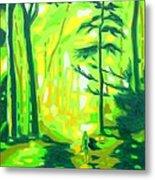 Hazy Sunny Forest Metal Print