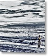 Hdr Black White Color Effect Fisherman Beach Ocean Sea Seascape Landscape Photography Image Photo  Metal Print