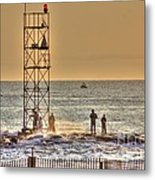 Hdr Gold Skies Fishing Rocks Beach Ocean Photography Art Photos Pictures Scenic Oceanview Boats Pics Metal Print by Pictures HDR