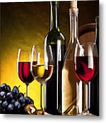 Hdr Style Wine Glasses Bottle Cask And Grapes Metal Print