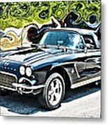 Chevrolet Corvette Vintage With Curly Background Metal Print