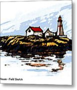 Head Harbour Lighthouse - Field Sketch Metal Print