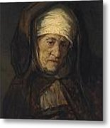 Head Of An Aged Woman Metal Print by Rembrandt
