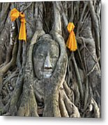 Head Of The Sand Stone Buddha Image Metal Print by Tosporn Preede