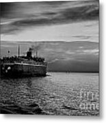 Headed West Black And White Metal Print