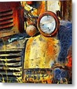 Headlight On A Retired Relic Abstract Metal Print