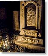 Headstone By Lantern Light Metal Print