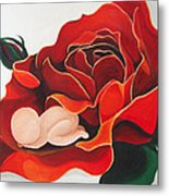 Healing Painting Baby Sleeping In A Rose Metal Print