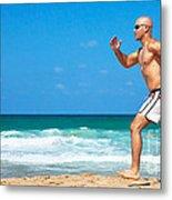 Healthy Man Running On The Beach Metal Print by Anna Om