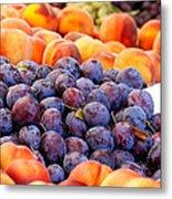 Heap Of Fresh Organic Peaches And Damson Plums  Metal Print