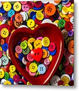 Heart Bowl With Buttons Metal Print