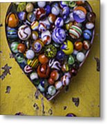 Heart Box Full Of Marbles Metal Print