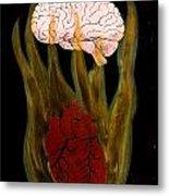 Heart Cooks Brain Metal Print