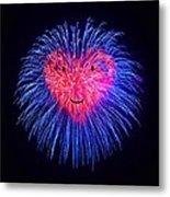 Heart Fireworks Face Metal Print