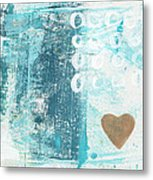 Heart In The Sand- Abstract Art Metal Print