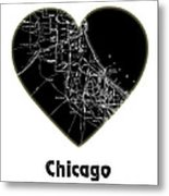 Heart Map Chicago Metal Print