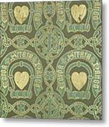 Heart Motif Ecclesiastical Wallpaper Metal Print