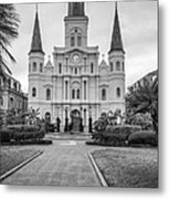 Heart Of The French Quarter Monochrome Metal Print