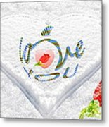 Heart On Snow With Rose Metal Print