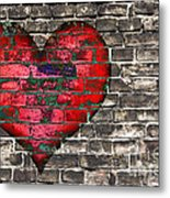 Heart On The Old Wall Metal Print