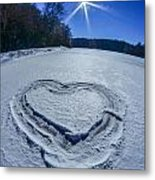 Heart Outlined On Snow On Topw Of Frozen Lake Metal Print