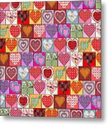 Heart Patches Metal Print