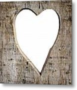 Heart Shape Carved Into A Plank Metal Print