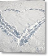 Heart Shape In Snow Metal Print