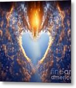 Heart Shape On Sunset Sky Metal Print