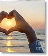 Heart Shaped Hands Framing Ocean Sunset Metal Print