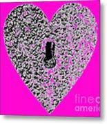 Heart Shaped Lock - Pink Metal Print