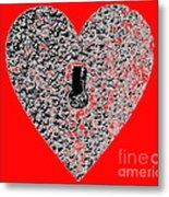 Heart Shaped Lock - Red Metal Print
