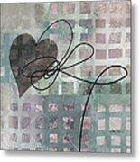 Heart String Abstract- Art  Metal Print
