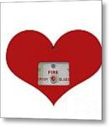 Heart Symbol With Emergency Button Metal Print