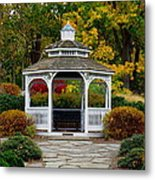 Hearthstone Castle Park Gazebo Metal Print by Stephen Melcher