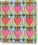 Hearts A'la Stained Glass Metal Print