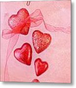 Hearts And Ribbon - Be My Valentine Metal Print