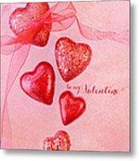 Hearts And Ribbon - Be Mine Metal Print